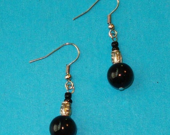 SALE - Black and Silver Beaded Drop Earrings