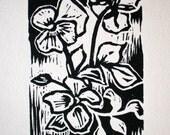 Pansies Linoleum Print