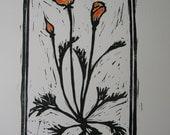 California Poppy Linoleum Print