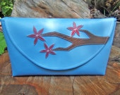 SALE Branch and Cherry Blossoms Blue Vinyl clutch