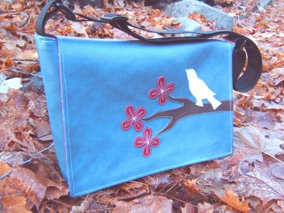 Blue Vinyl Cherry Blossom and Bird Messenger Bag
