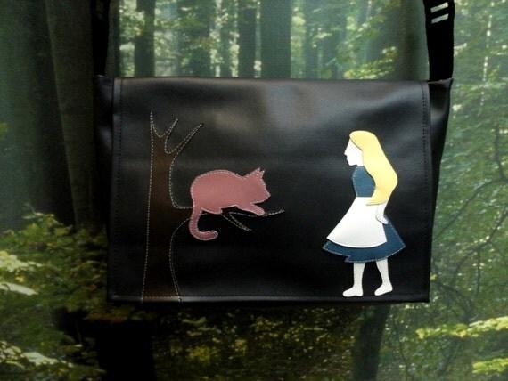 SALE Alice in Wonderland Black Vinyl Messenger Bag