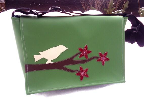 Cherry Blossoms and Bird Green Vinyl Messenger Bag