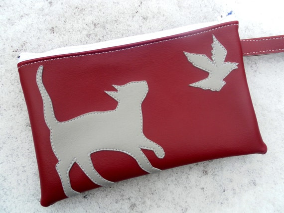Kitty and Crow Burgundy Vinyl  Wristlet