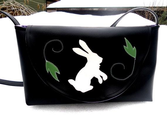 SALE Bunny and Leaves Black Vinyl Purse