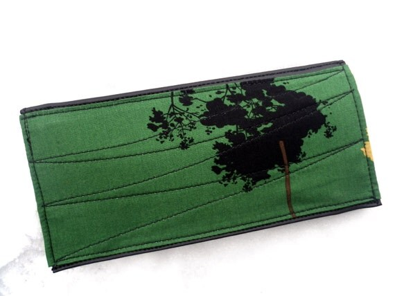 SALE Long Fabric and Vinyl Wallet with Zipper