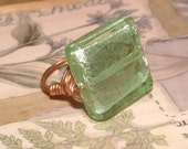 Venetian Green Glass and Copper Wrap Ring