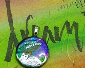 Kitty Dreams and Dragonflies - Dichroic Glass Pendant