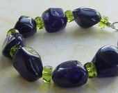 Juicy Bracelet in Amethyst, Czech Glass and Sterling Silver