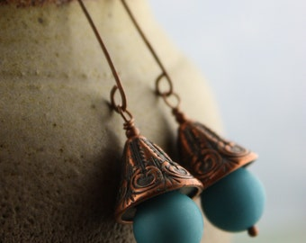Fiji - Copper and Vintage Aqua Lucite Earrings