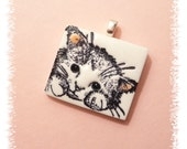 Cute Cat Pendant, Cat Jewelry, Optional Necklace, Kitty Face Charm, Cat Lover Gift, pink white black, handmade polymer clay cat