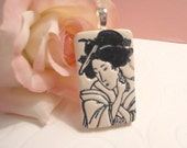 Geisha Face Pendant, Japanese Woman, Black and White Jewelry, optional ball chain necklace, polymer clay