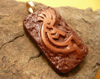 Kokopelli Pendant, Southwestern Jewelry, Gift For Him, Mens Jewelry, brown and copper, handmade polymer clay