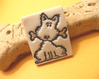 Cute Dog Pin, Puppy With a Bone, Dog Brooch, whimsical handmade polymer clay jewelry