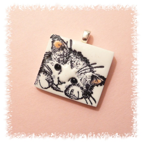 Sweet Cat Pendant pink and white kitty - whimsical hand crafted polymer clay jewelry
