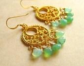Luscious spring Peruvian Opal Briolette Gold Chandelier Earrings A2K