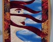 Art Quilt - Small Quilted Portrait - Autumn Winds