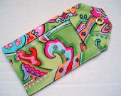 Fabric Luggage Tag Green and Pink Paisley
