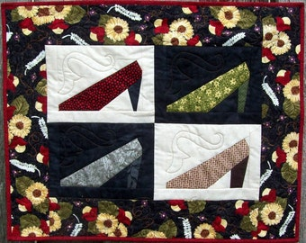 Small Quilted Wallhanging, My Pretty Shoes 20 x 25 inches Home Decor Art Quilt Floral Black and White Shoe Quilt