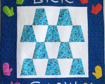 Brr Snow - Quilted Wall Hanging for Winter, Mittens Blue and White Home Decor Art Quilt