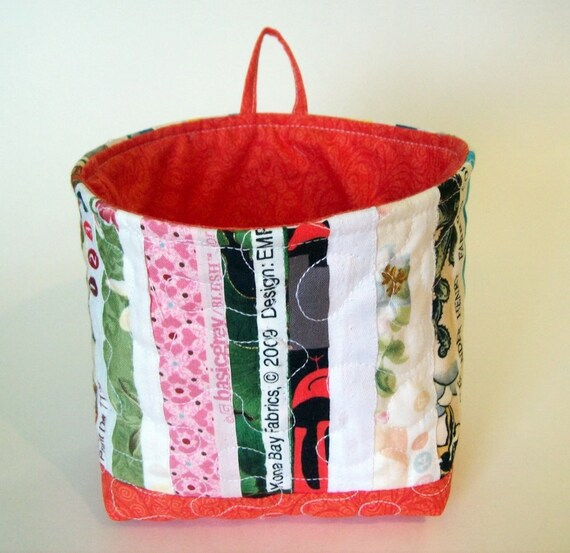 Fabric Basket - Sewing Room Caddy - Quilted selvage with orange trim