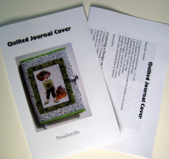 Diy Quilted Book Cover : Quilted journal cover pattern pdf download diy fabric