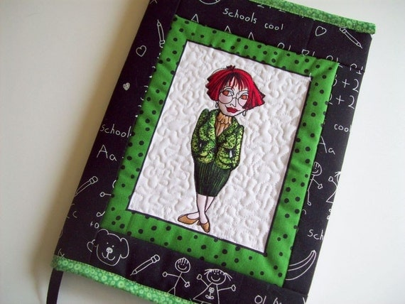 Quilted Fabric  Journal Cover - Teacher, Blackboard, Green Composition Book Cover School Theme