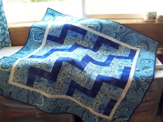 Lap Quilt Paisley Blue and White