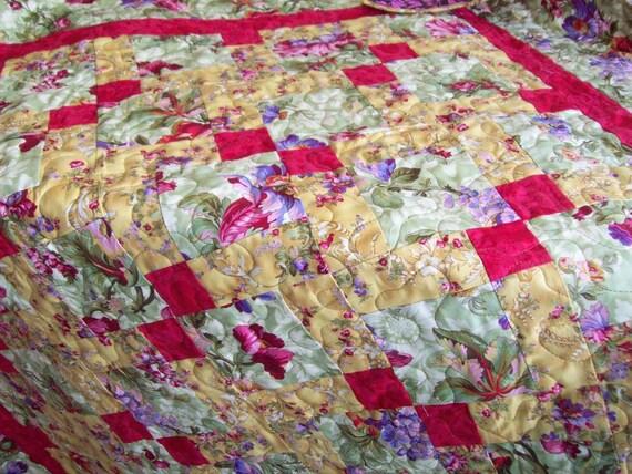 French Inspired Lap Quilt - Fleurs de Versailles - Home Decor Throw