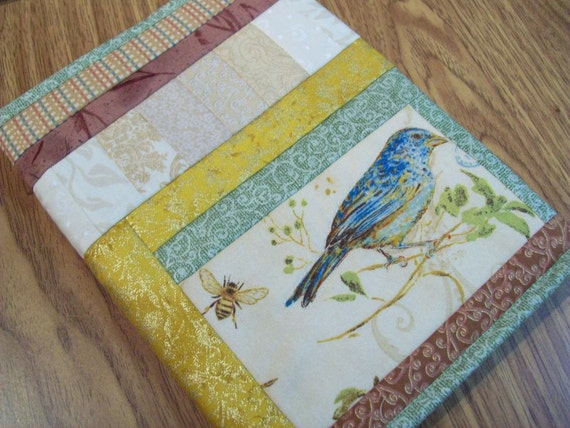 Quilted Journal Cover - Spring Garden, Bird and Bee