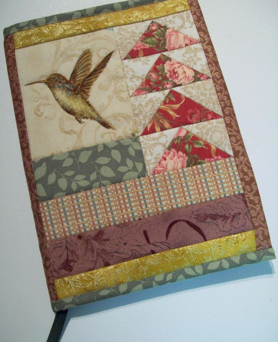 Quilted Journal Cover - Hummingbird and Flying Geese
