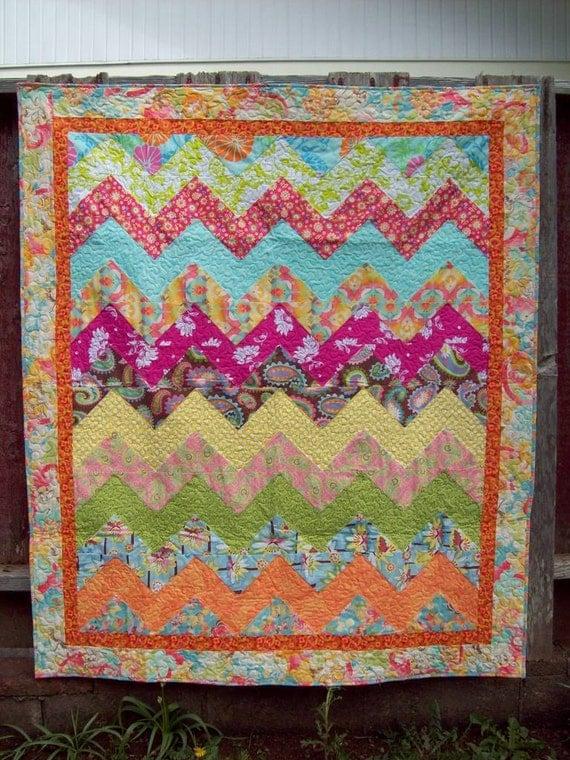 Bright Zig Zag Chevron Lap Quilt - Baby Quilt
