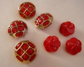 Fancy Red Vintage Shank Buttons