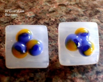 2 Fused Glass Buttons in White, Blue and Yellow, Glass Accessories, Willow Glass