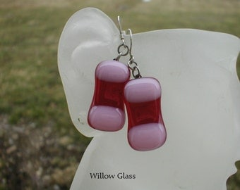 Fused Glass Earrings Cherry Red with Cotton Candy Pink and Sterling Silver earwires, Glass Jewelry, Glass Earrings, Willow Glass, SRAJD
