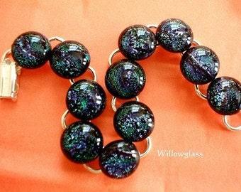 SALE Dichroic Fused Glass Bracelet, Dichroic Jewelry, Dichroic Bracelet,  Willow Glass