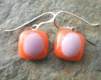 Fused Glass Earrings in Orange and Lavender, Glass Jewelry, Glass Earrings, Willow Glass