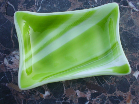 Fused Glass Soap Dish in streaky Lime and White by Willowglass, Glass Soap Dish, Home Decor
