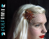 SALE- pulp noir- gold starburst- swarovski and czech glass hair brooch