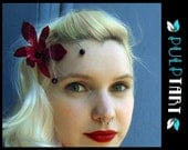 fleur fatale- preserved real orchid and swarovski fascinator- burgundy and black