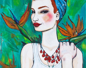 coral- pinup rockabilly giclee archival print of original acrylic painting- 8x10 on 10x12 paper