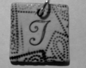 "Alphabet Tile Tag  ""T"" Handmade Pendant  Boho Hipster Funky Pendant Jewelry Supplies"