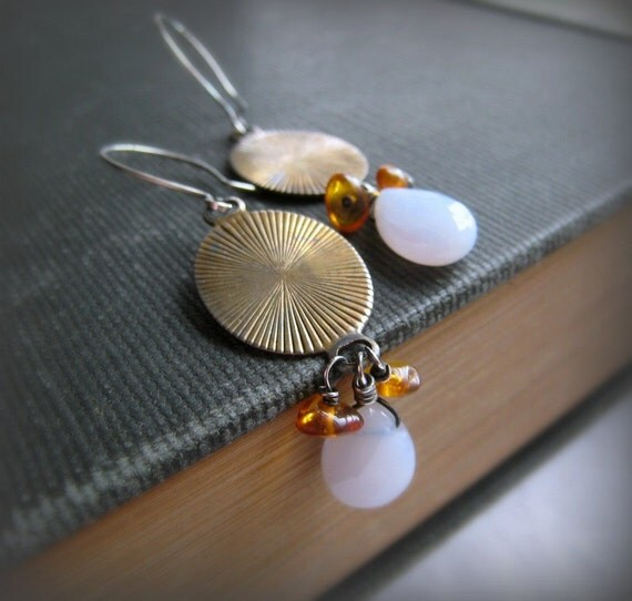 Cloud and Sun Handmade Earrings in Amber, Blue Lace Agate and Vintage Brass