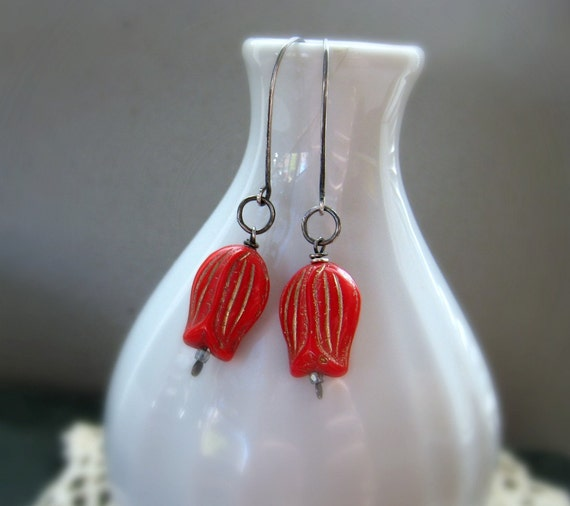 Vintage Red Tulips Handmade Sterling Silver Earrings