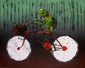Kermit on a Bike Lithograph Print