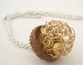 wire bead Fall acorn pendant in gold or silver