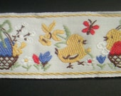 Embroidered Easter ribbon - Chicks with an easter basket and daffodil