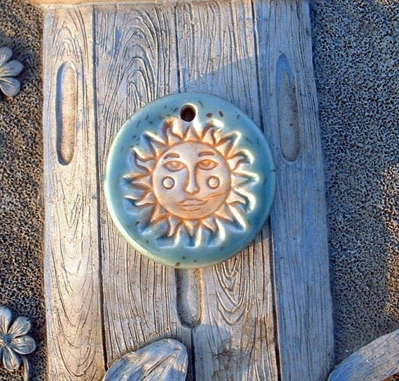 Sun Face Ceramic Pendant