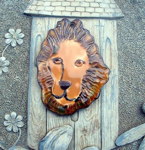 Golden Lion Head Ceramic Pendant