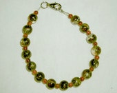 Goldstone and Glass Bead Bracelet-FREE SHIPPING